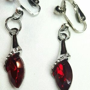 Jewelry - 1.5 Sil Pl Deep Red Crystal Clip-on Earrings
